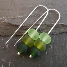 glass trio earrings green