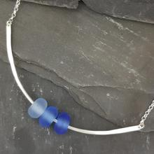 glass trio necklace blue