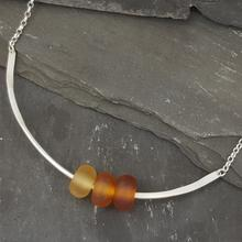 glass trio necklace amber
