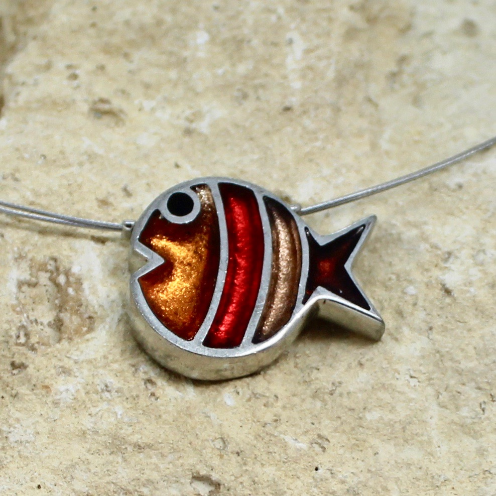 bubble fish pendant apricot