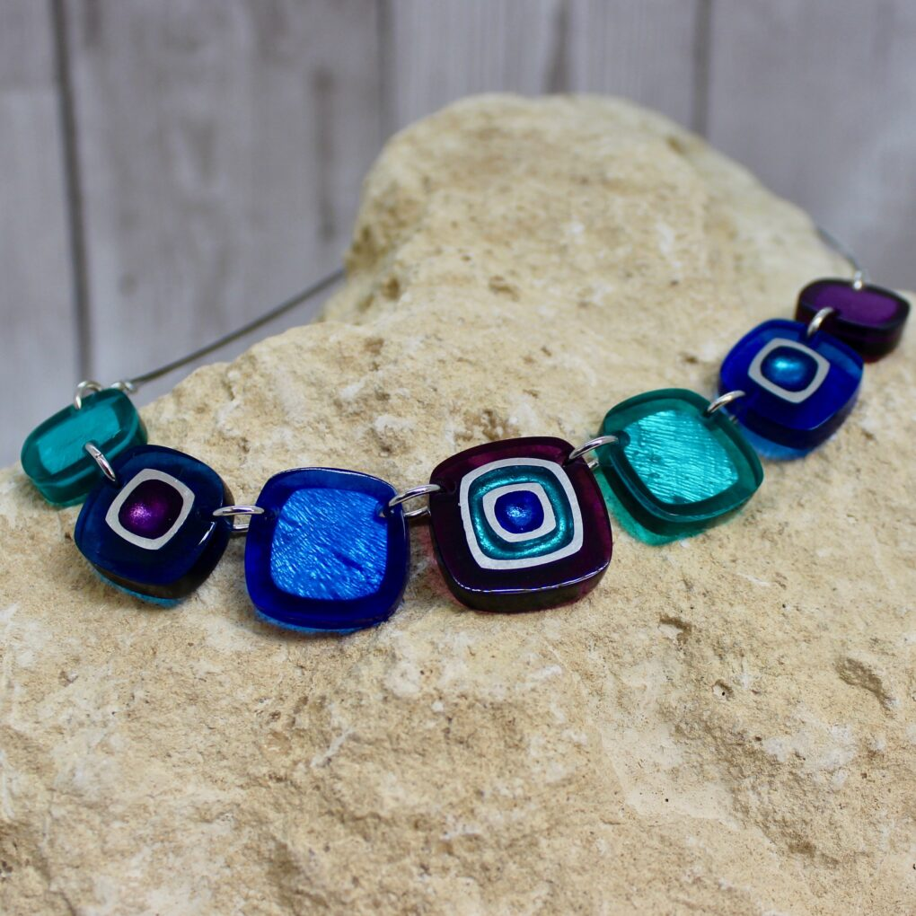 Abstract squares necklace peacock