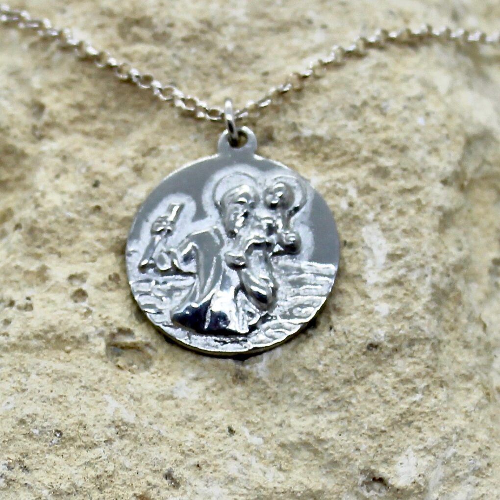 St Christopher pendant Cornish Tin