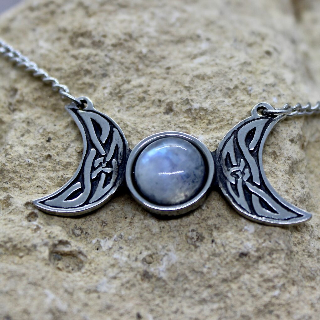 celtic triple moon necklace