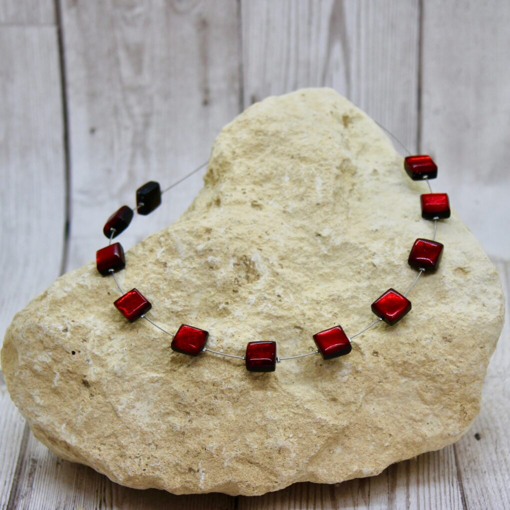 Square Button Necklace Red