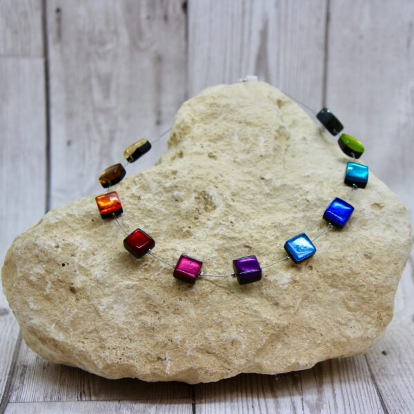 square button necklace rainbow