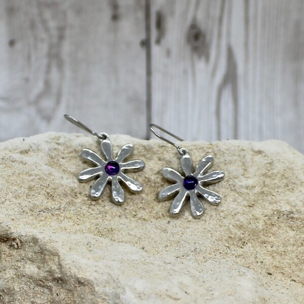 dahlia drop earrings amethyst