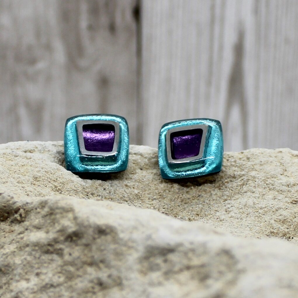 irregular square earrings - Haze
