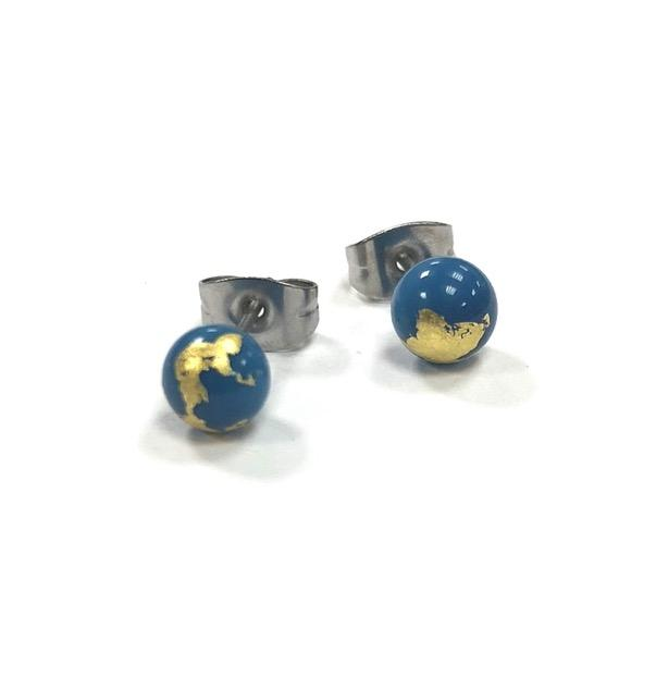 Lapis and Gold Handmade Glass Stud Earrings
