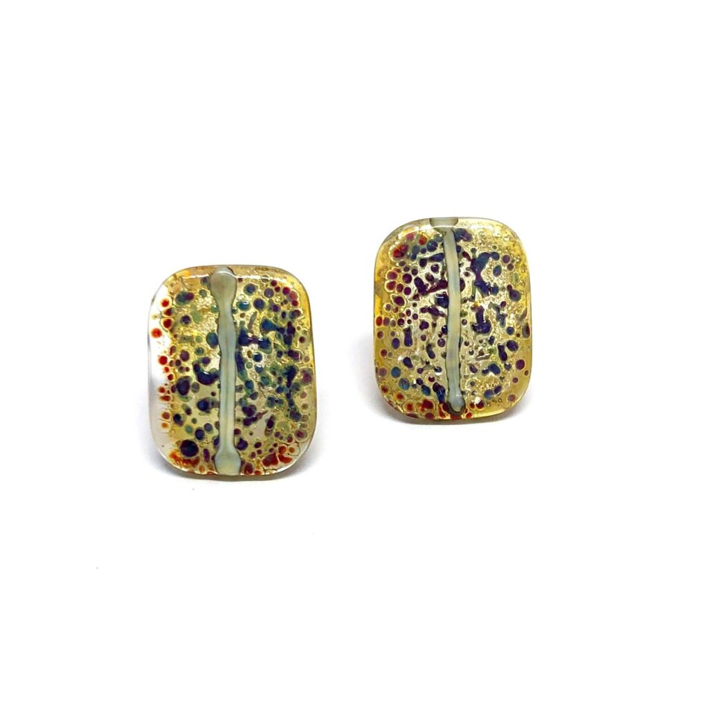 Kagoshima Handmade Glass Panel Stud Earrings