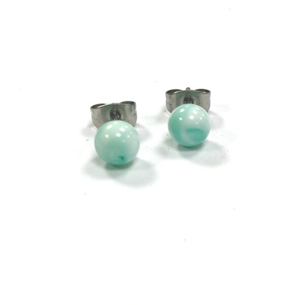 Mint Swirl Handmade Glass Stud Earrings