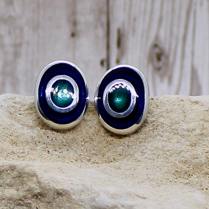 Organic circles Clip on Earrings - Peacock