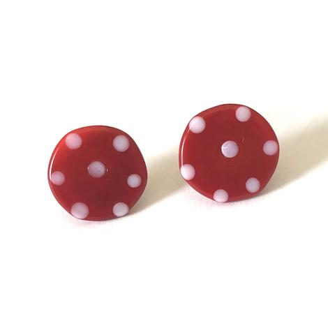 Dotty Red Glass Button Stud Earrings