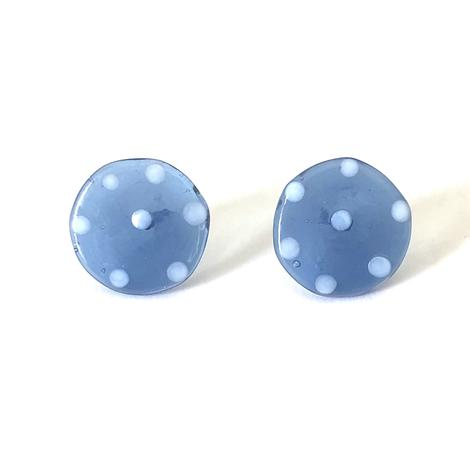 Dotty Slate Blue Glass Button Stud Earrings
