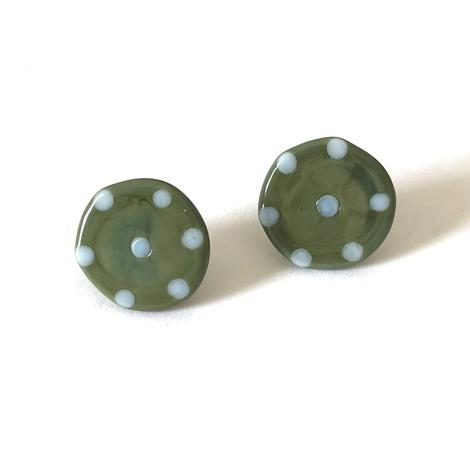 Dotty Olive Glass Button Stud Earrings
