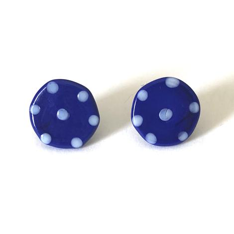 Dotty Navy Glass Button Stud Earrings