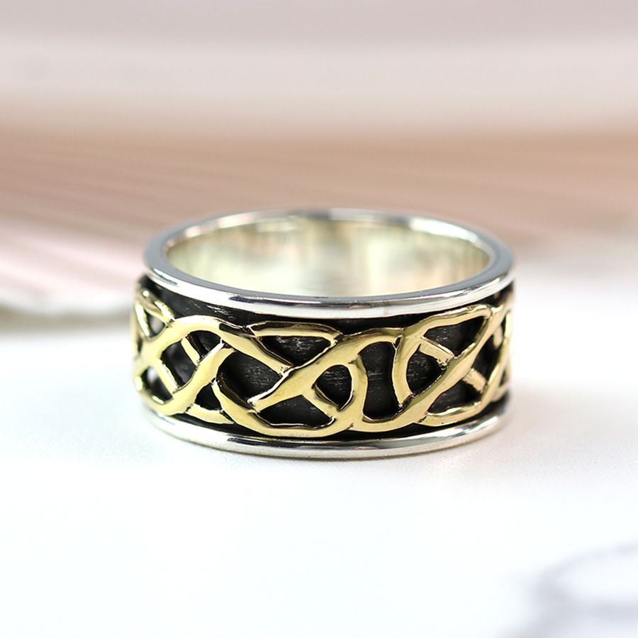 Silver And Brass Celtic Knot Spinning Ring