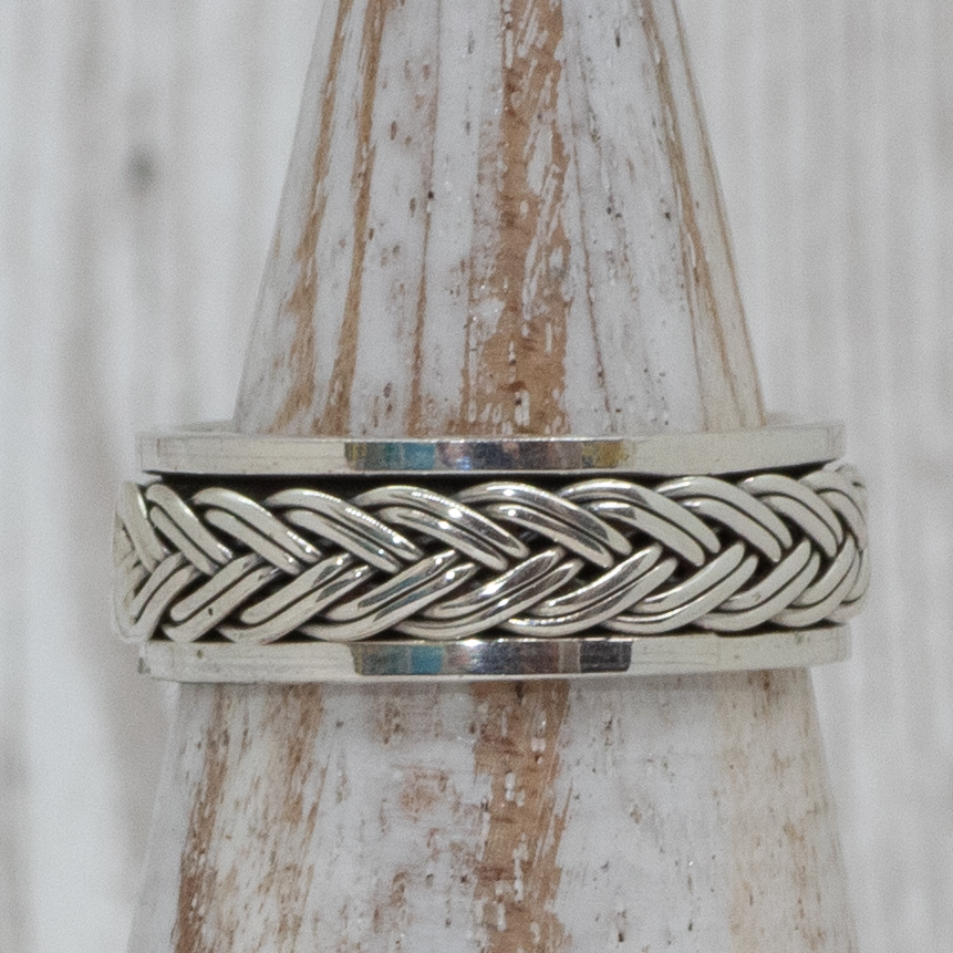 Silver Plaited Spinning Ring