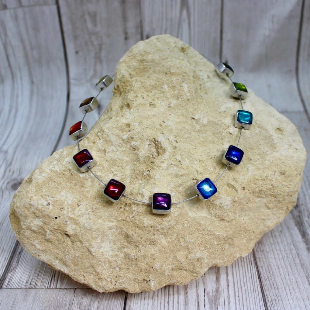 Rainbow Aluminium Squares Shiny Necklace