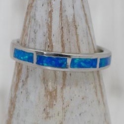 Sterling Silver Opal Wavy Band Ring.