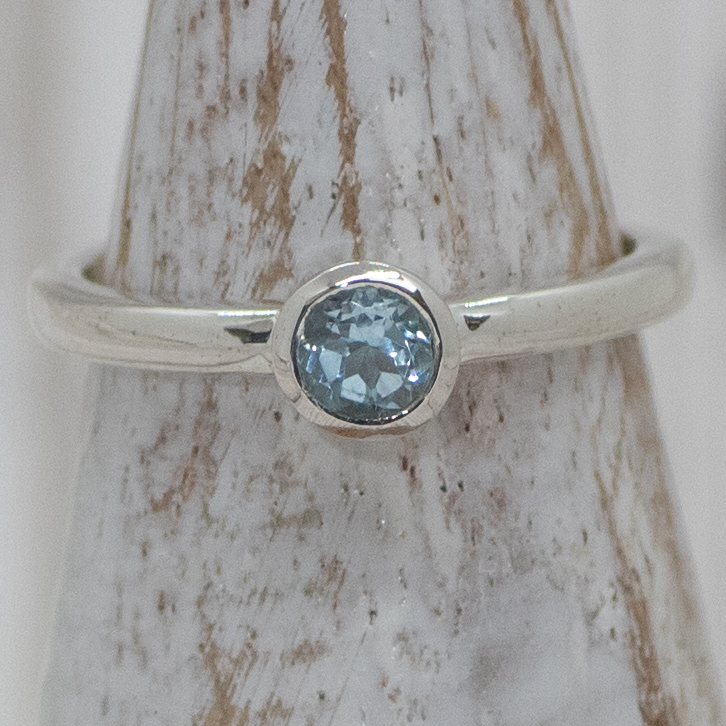 Small Silver Solitaire Topaz Ring
