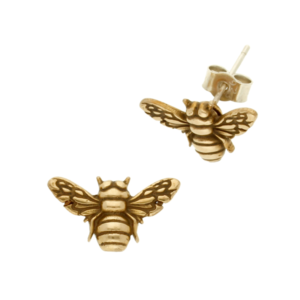Bronze Bee Stud Earrings