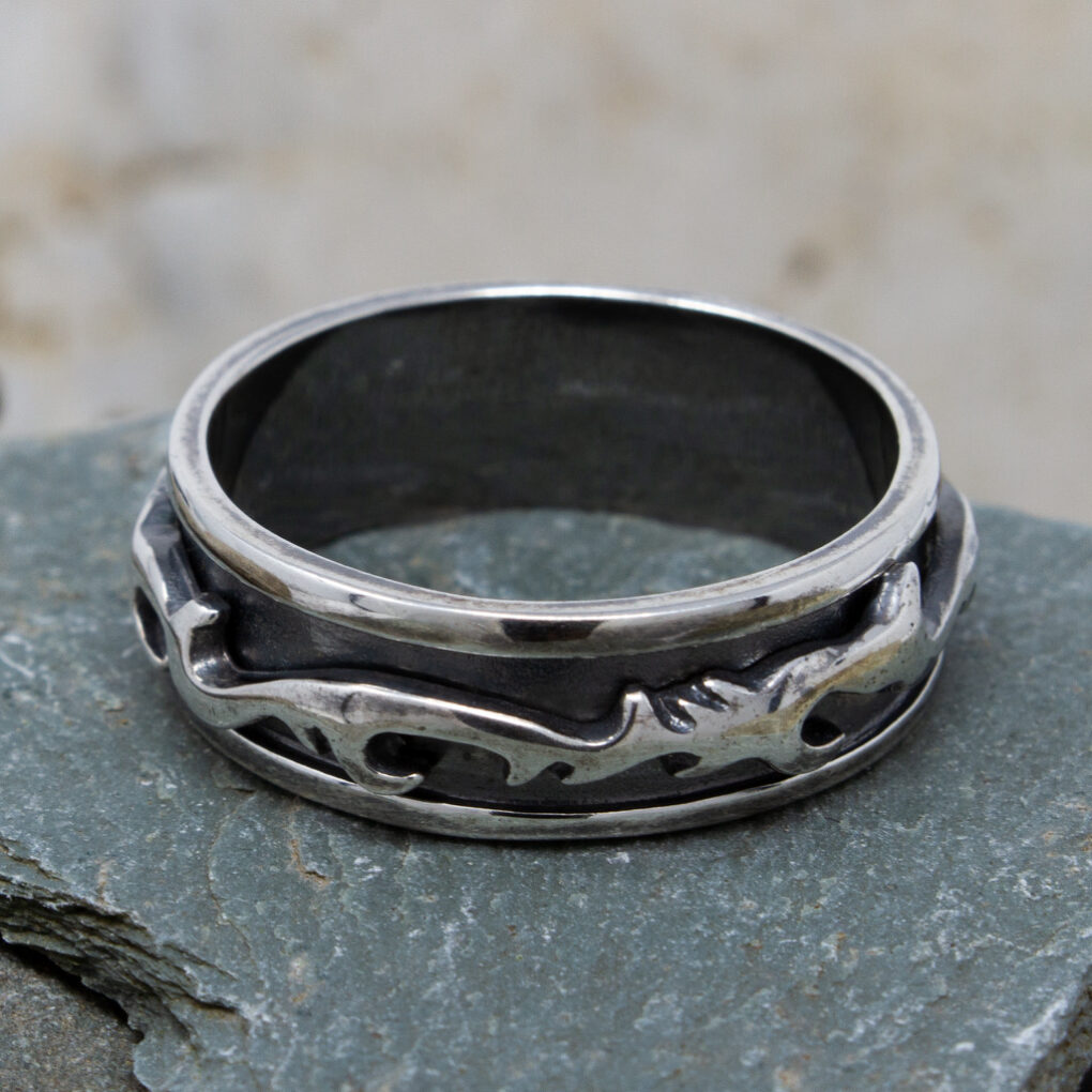 Silver Abstract Spinning Ring