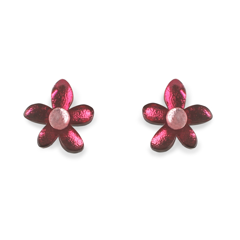 Flower Stud earrings -  Raspberry
