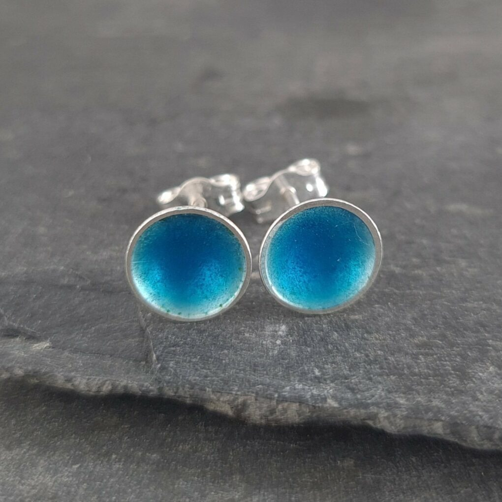 Sterling Silver Studs - Carribean Blue