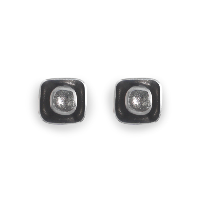 Retro Square Stud Earrings - Black