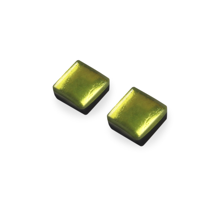 Lime Square Stud Earrings