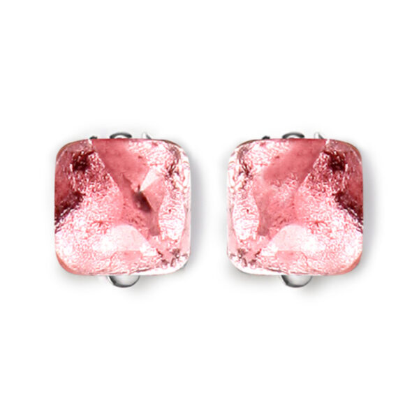 Antique Square Clip on Earrings - Rose.