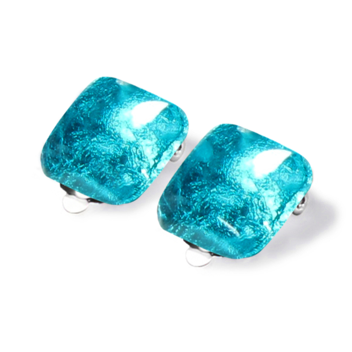 Antique Square Clip on Earrings - Teal.