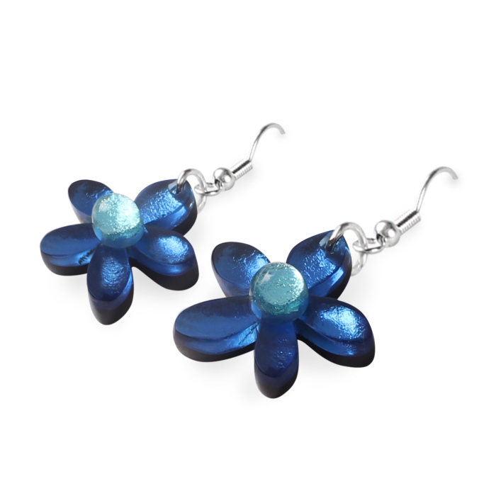 Flower Earrings - Twilight Blue