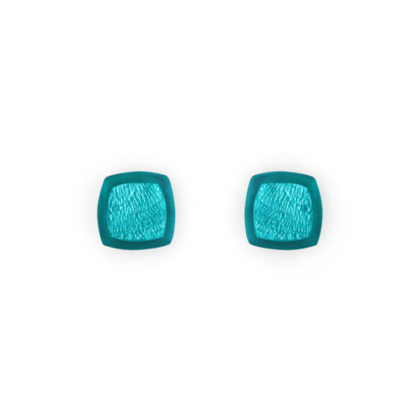 Abstract Square Stud Earrings - Peacock