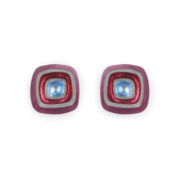 Abstract Square Clip-on Earrings - rainbow