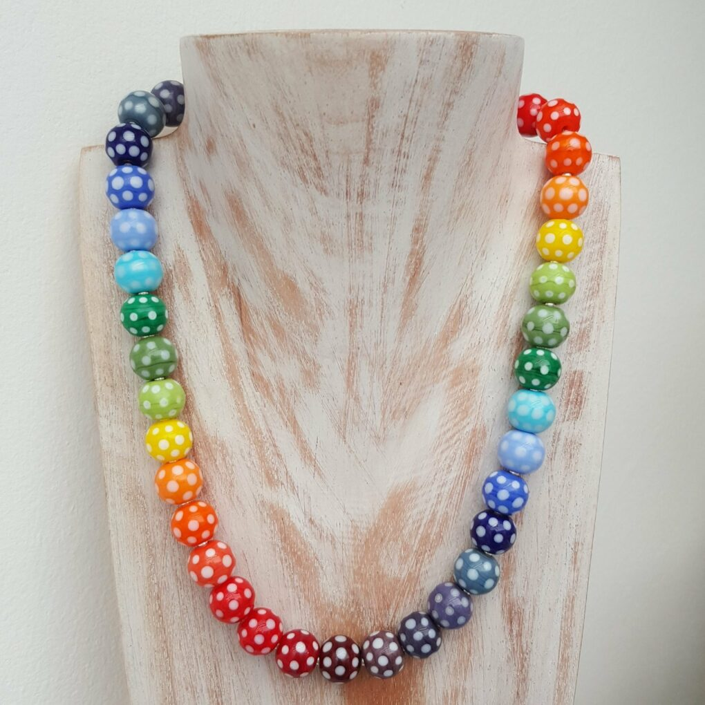 Rainbow Polka Dot Necklace