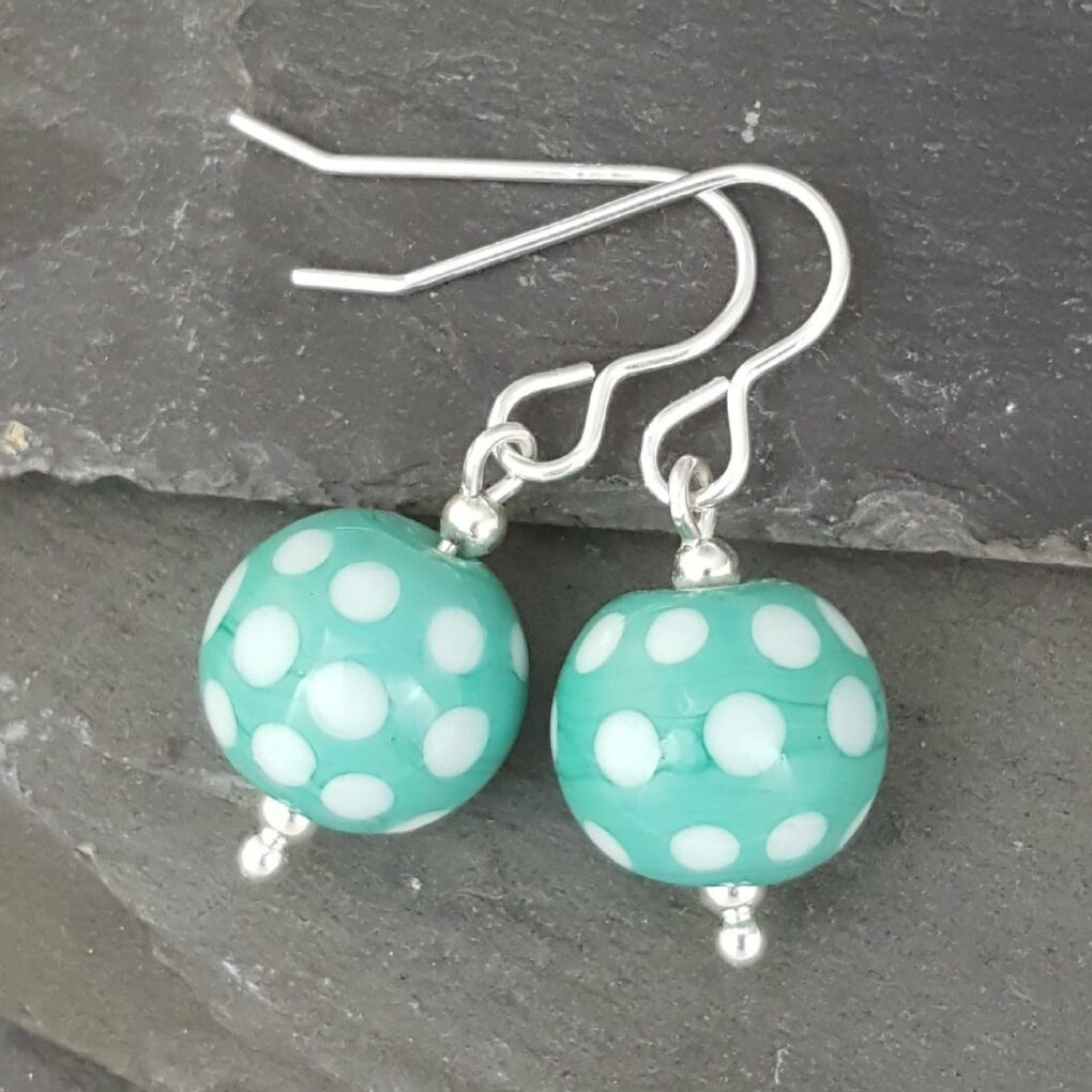 Polka Dot Glass Earrings - Jade