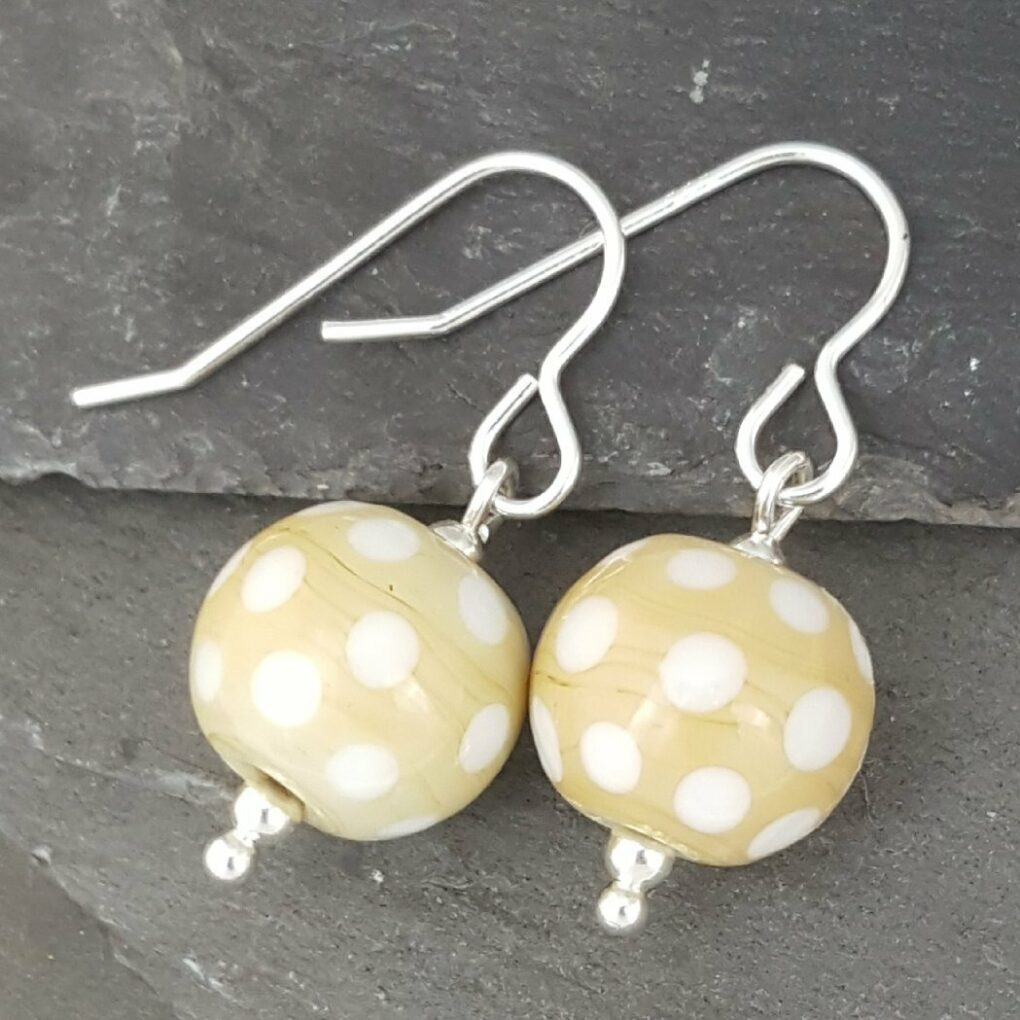 Polka Dot Glass Earrings - dune