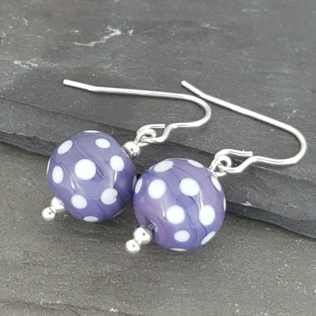 Polka Dot Glass Earrings - Purple