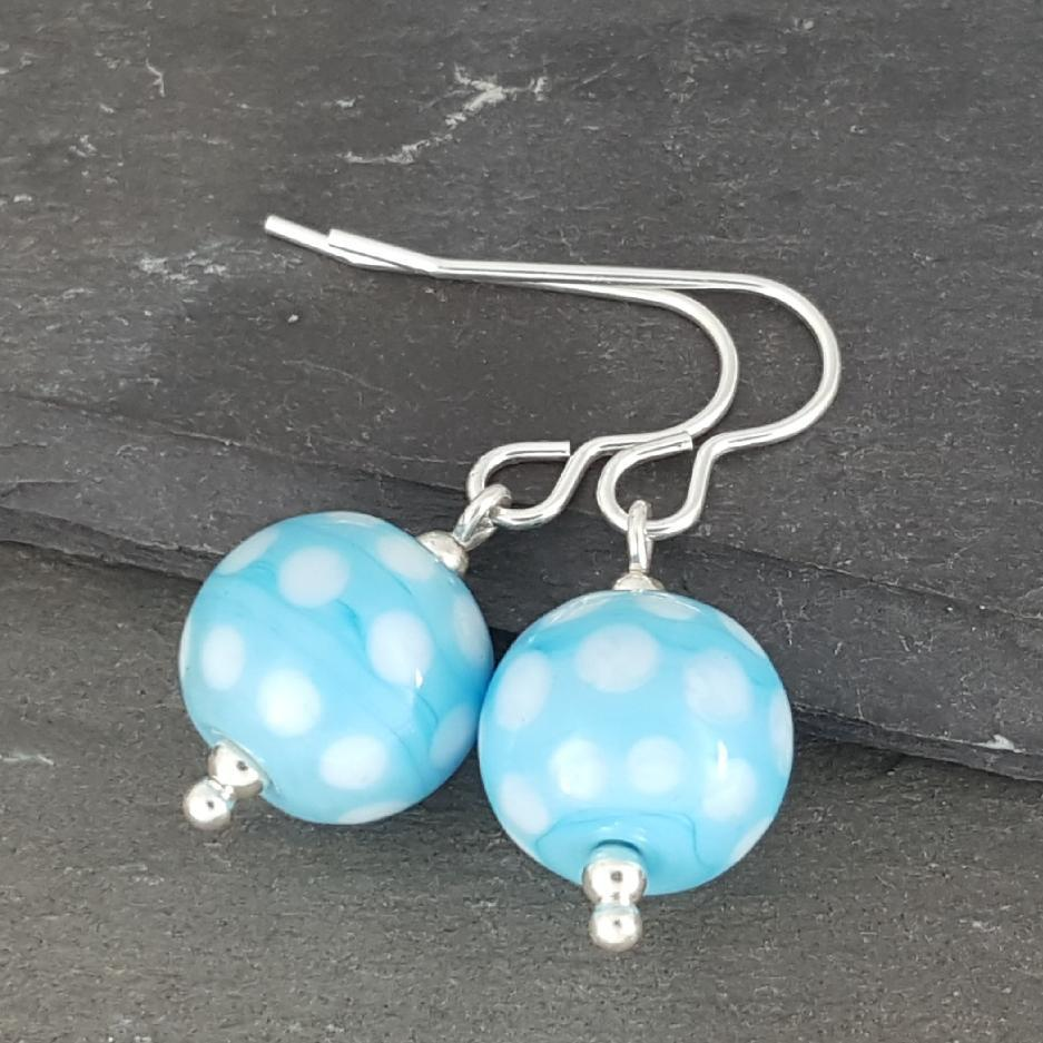 Polka Dot Glass Earrings - Turquoise