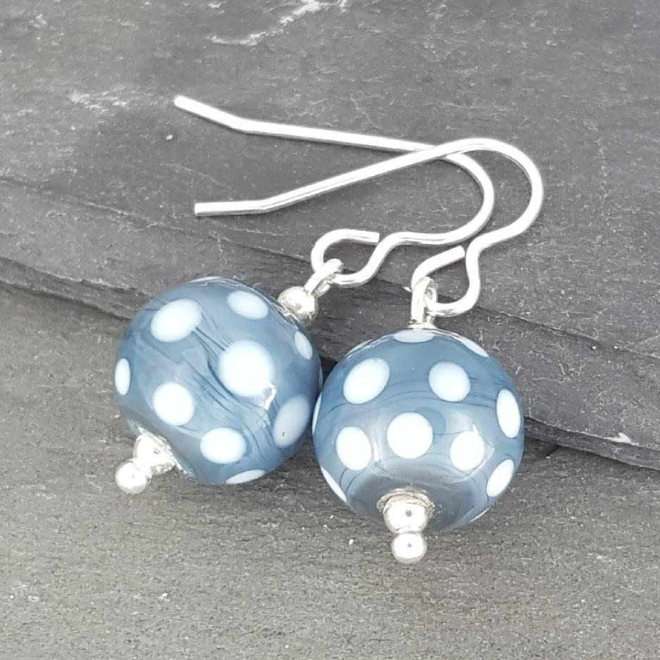 Polka Dot Glass Earrings - Denim