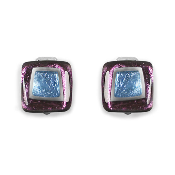 Irregular Square Clip-on Earrings - Rainbow