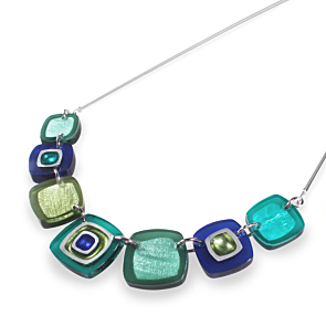 Abstract Squares Necklace - Everglade