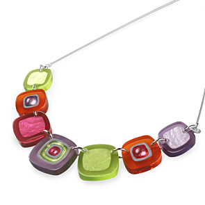 Abstract Squares Necklace - Sherbet