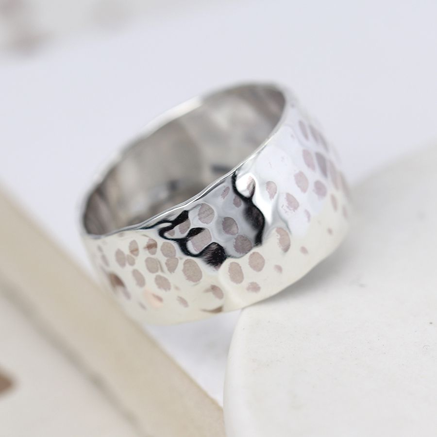 Wide Hammered Silver Ring Band