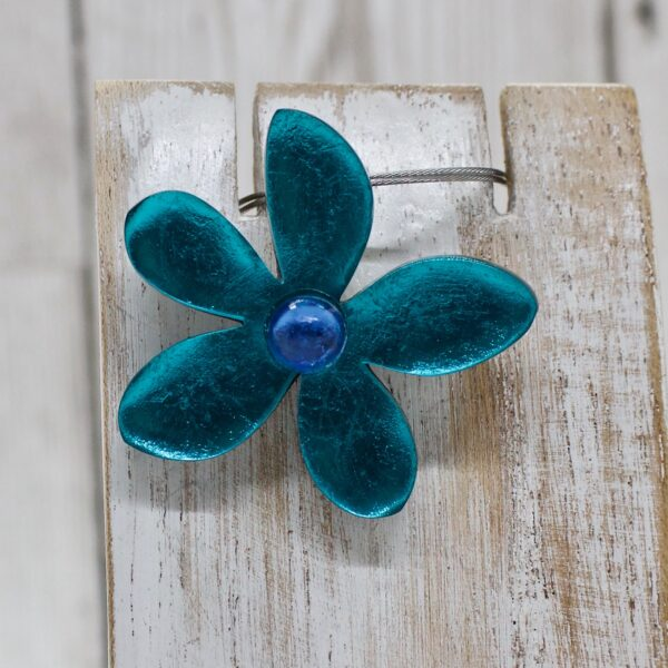 Small Teal Flower Pendant