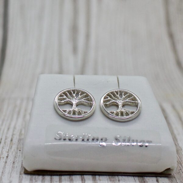 Siilver tree of life studs