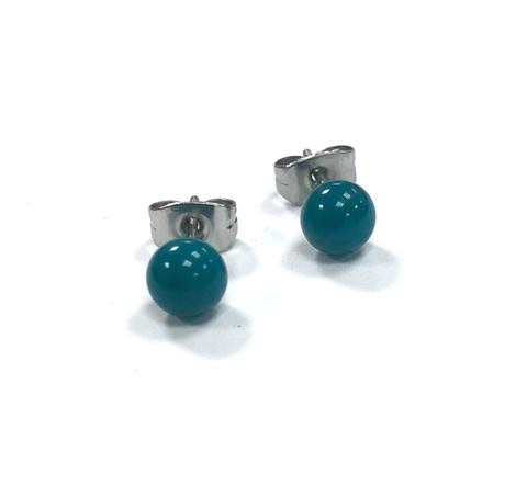 Teal Handmade Glass Stud Earring