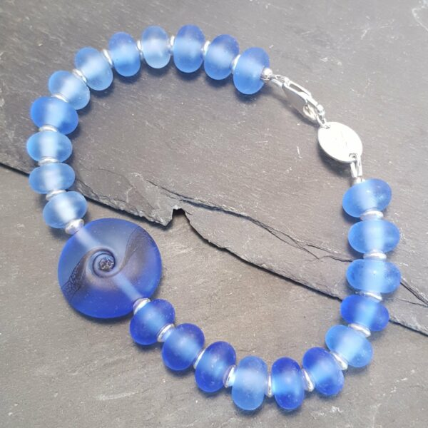 Lace Swirl Bracelet - Blue Glass