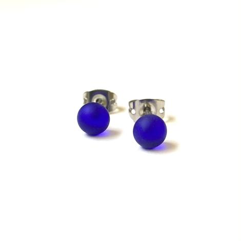 Frosted Cobalt Blue Stud Earrings